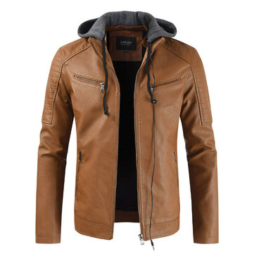Mens Detachable Hooded Drawstring Faux Leather Jacket