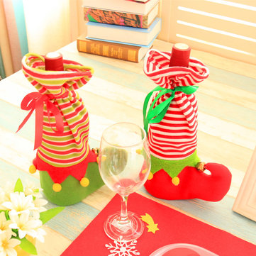 Christmas Shoe Shape Wine Bottle Cover Case Wrap Bag Xmas Party Table Decoration
