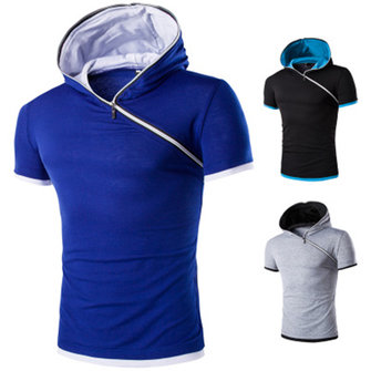 Plus Size Men Hoodie T Shirts Summer Short-Sleeve Shirt Casual Slim Fit Top