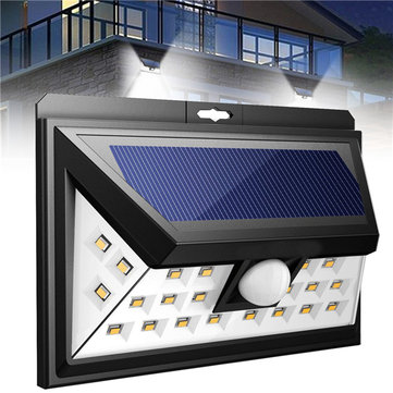 Solar Powered 24 LED PIR Motion Sensor Wall Light Waterproof Outdoor Lamp for Garden Landscape
