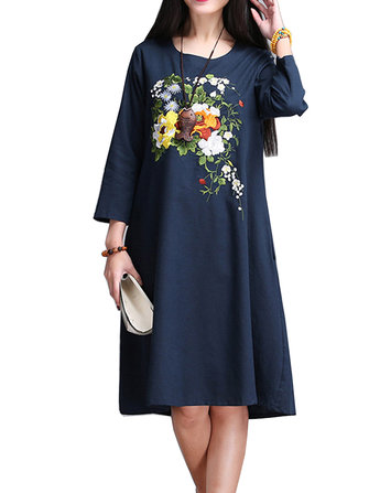 Elegant Women Ethnic Style Flower Embroidery Party Dress