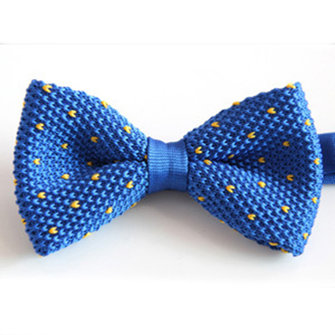 Men Knitted Stripes Bowknot British Style Party Bow Tie