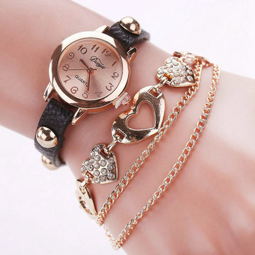 DUOYA XR746 Fashionable Ladies Bracelet Watch Rose Gold Heart Leather Quartz Wrist Watch