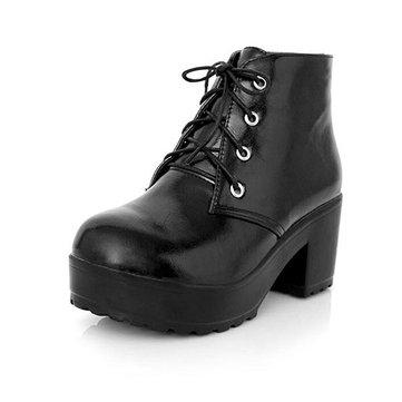 New Women Boots Lace-Up PU Comfortable High Heel Ankle Short Boots