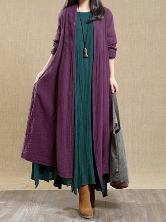 Plus Size Vintage Long Sleeve Cotton Outwear Trench Coat