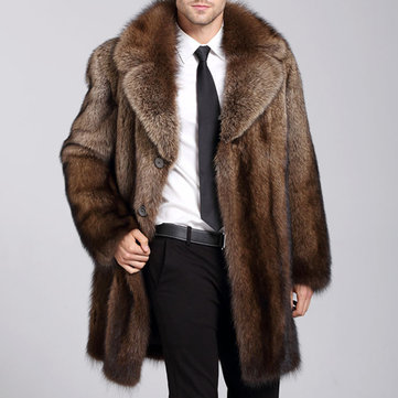 Mens Luxurious Trendy Faux Fur Coat Winter Thickened Warm Mid Long Parka Jacket