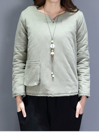 Casual Women Warm Cotton Linen Quilted Jacket
