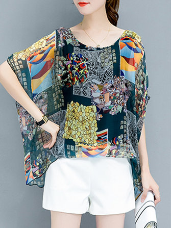 Semi-sheer O-neck Chiffon Print Blouse