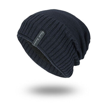 Mens Solid Knitted Skullies Beanie Cap Plus Velvet Warm Outdoor Casual Skull Hats