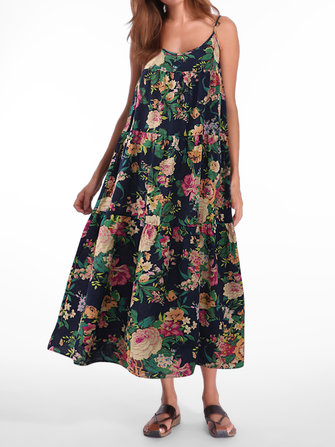 Bohemian Women Sleeveless Spaghetti Strap Floral Maxi Dress
