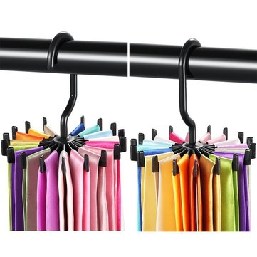 2pcs 360° Rotatable Tie Hanger Rack Adjustable Neck Ties Silk Scarf Storage Hook Organizer