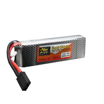 ZOP Power 7.4V 8000mAh 2S 40C Lipo Battery TRX Plug With Battery Alarm For Traxxas