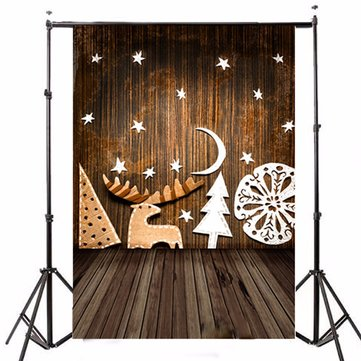 5x7ft Christmas Tree Snow Wood Floor Photography Backdrop Studio Prop Background