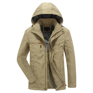 Mens Quick Drying Outdoor Casual Coat Detachable Hooded Cargo Jacket