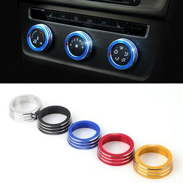 3pcs/Set Cars Alu Decoration Stereo Knob Ring Air Conditioning Knob Ring for Golf 7