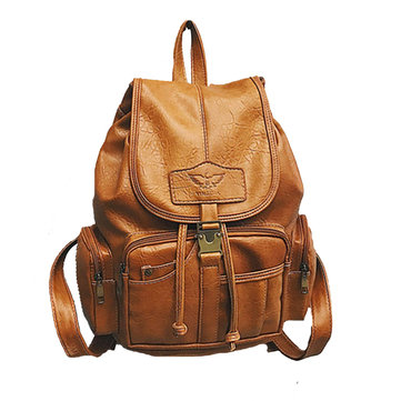 PU Leather Backpack Travel Camping Drawstring Bag School Bag Shoulder Pack Handbag