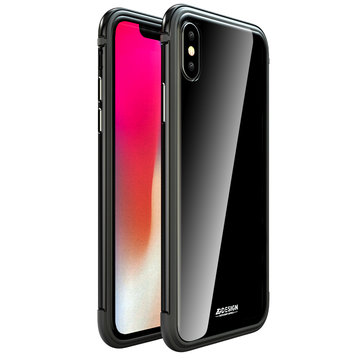 Luphie Protective Case For iPhone X Gradient Color Scratch Resistant Tempered Glass+Aluminum+TPU Back Cover