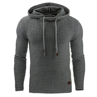 Fashion Men's Warm Jacquard Hooded Sweatshirts Casual Solid Color Long Sleeve Sport Hoodies