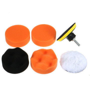 7pcs Polish Wax Foam Sponge Pad with Drill Adapter
