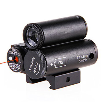 2 in 1 Red Laser Sight Beam Dot Scope Tactical LED Flashlight Combo Kit Picatinny Rail Mount