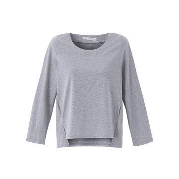Casual Women Long Sleeve O-Neck Side Slit Short Front Long Back Cotton T-shirt