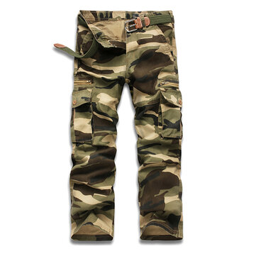 Mens Camouflage Outdooors Sports Pants Casual Military Cotton Multi Pocket Cargo Pants