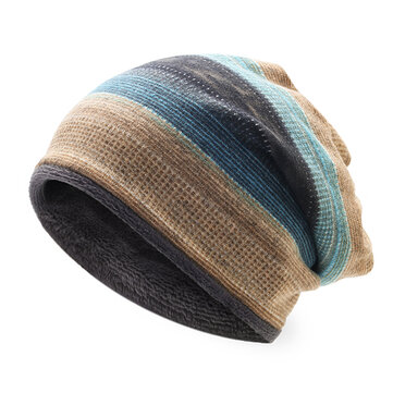 Mens Womens Outdoor Winter Stripes Beanie Hat Scarf Plus Cashmere Multi-function Bonnet Hat