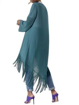 Casual Women Irregular Hem Tassel Cloak Shawl Cardigans