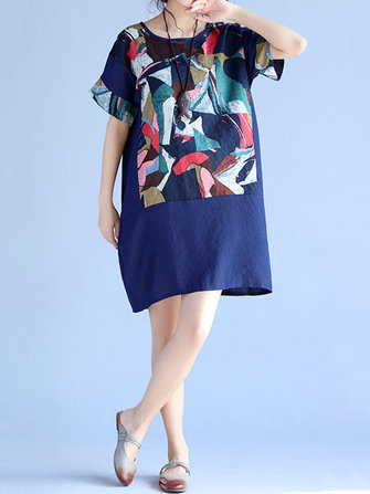 Vintage Women Loose Print Short Sleeve Dresses