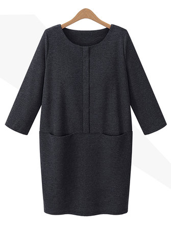 Women Thicken Slim Pure Color Loose Winter Dress