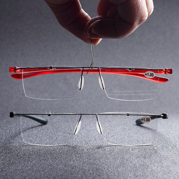 BROADISON Rimless Presbyopia Reading Glasses Super Lightweight Fashionable