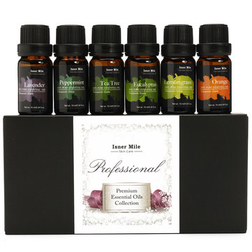 Isner Mile 6pcs Pure Essential Oil Set Lavender Peppermint Therapeutic Aromatherapy Spa