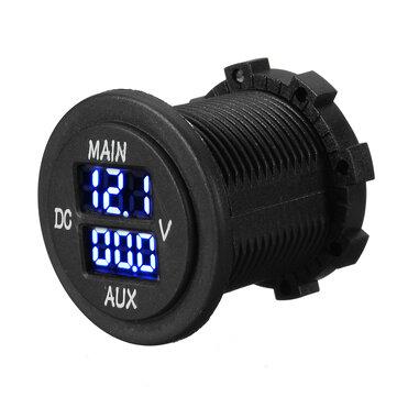 12V 24V AUX Main LED Digital Dual Voltmeter Voltage Gauge Battery Monitor Panel
