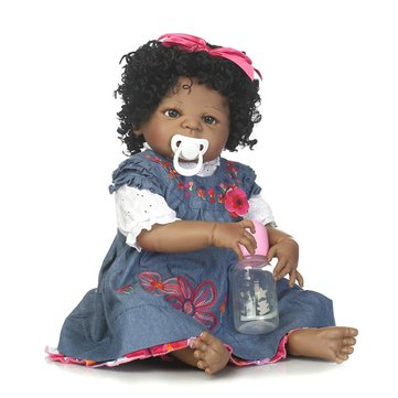 22inch 57cm NPK Silicone Cotton Body Curly Hair Baby Reborn Black Dolls Smiling Bebe Reborn Babies
