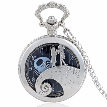 Vintage Pocket Watch The Nightmare Before Christmas Sally and Jack Skellington Pattern Quartz Watch