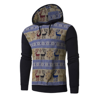 Mens Ethic Style Deer Printed Hoodies Sweatshirts