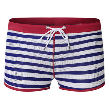 ESCATCH Mens Striped Sexy Mesh Breathable Trunks Fashion Beach Swimming Shorts