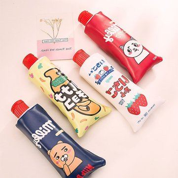 New Korean Cartoon Toothpaste Shape Pencil Case With Sharpener Stationery Storage Organizer Bag