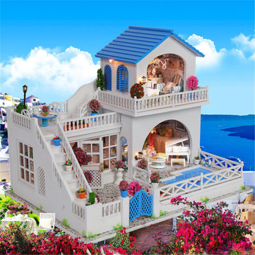 DIY Doll house Romantic Trip Miniature Wooden Furniture Model LED Light Toy Gift