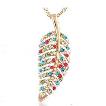 Delicate Full Rhinestone Leaf Pendant Womens Necklace Fashion Gold Chain Necklace for Women Gift