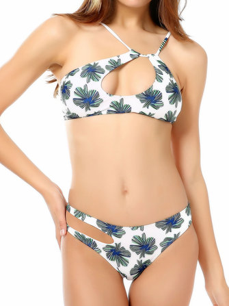 Sexy Hollow Out Straps Leaves Printing Padding Bikini Set