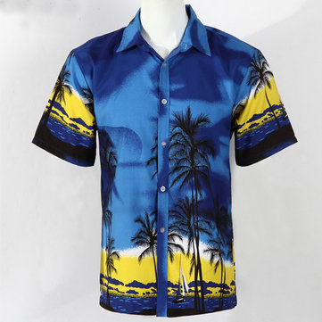 Mens Summer Hawaiian Coconut Tree Print Casual Tees Quick Drying Short Sleeve Beach Shirts