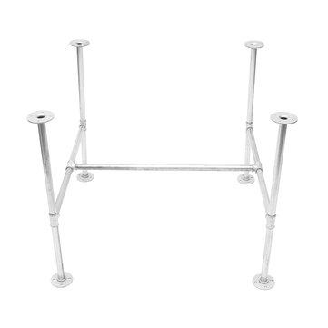 Industrial Iron Pipe Silver Table Leg Base Bracket Board Holder Steampunk Garden Kitchen Bar