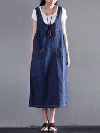 L-5XL Women Casual Sleeveless Denim Dress with Front Pockets