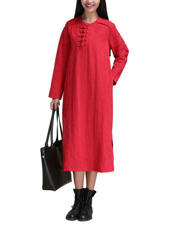 Vintage Women Solid Button Jacquard Patchwork Split Cotton Linen Dress