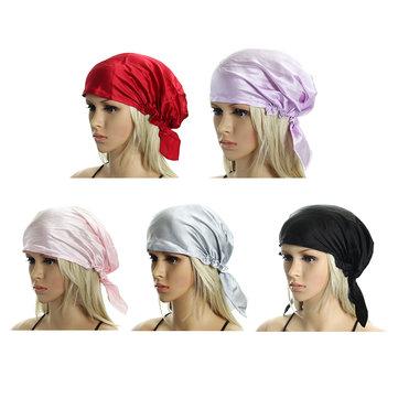 Femmes 100% soie dormir chapeaux envelopper cap nuit cap capuchon doux bonnet
