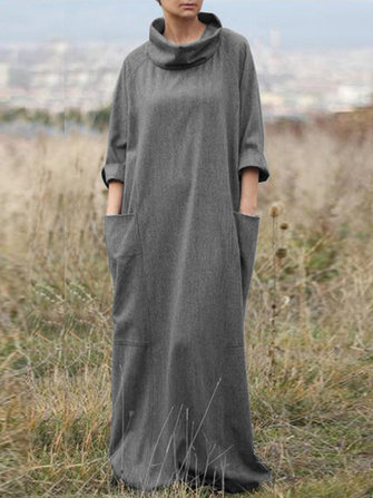 Women Retro Long Sleeve Casual Loose Baggy Maxi Kaftan Dress