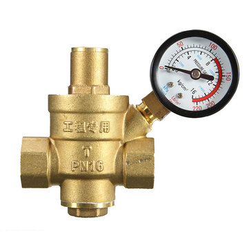DN25 1 Inch Brass Water Pressure Regulator Valve with Gauge Pressure Water Pressure Reducing Valve