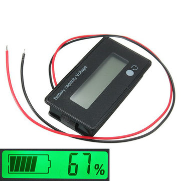 3Pcs 12V/24V/36V/48V 8-70V LCD Acid Lead Lithium Battery Capacity Indicator Digital Voltmeter
