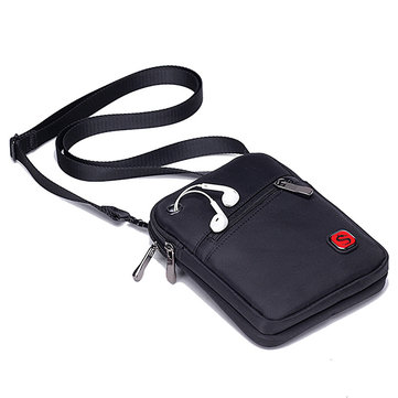 Men Oxford Crossbody Travel Bag Solid Phone Bag Sling Bag Waist Bag